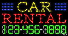 """NEW """"CAR RENTAL"""" 32x17 w/YOUR PHONE NUMBER SOLID/ANIMATED LED SIGN 25055"""
