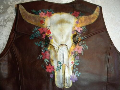 LEATHER VEST - HAND PAINTED