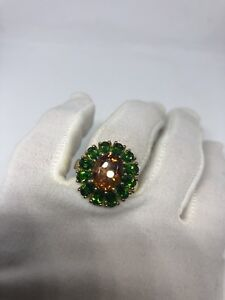 Vintage-Genuine-Chrome-Diopside-Citrine-925-Sterling-Silver-Deco-Star-Ring