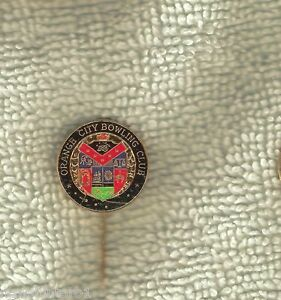 Details about ORANGE CITY BOWLING CLUB PIN, COAT OF ARMS DESIGN