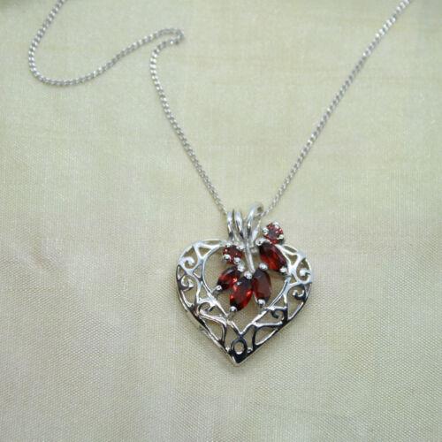 Granat Anhänger Silber 925 Herz Kettenanhänger Sterlingsilber Liebe Rot ts