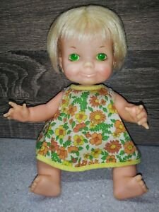 Vintage-1970-Ideal-DOLL-BELLY-BUTTON-BABY-BLONDE-HAIR-GREEN-EYES-9-034-Nice-Clean