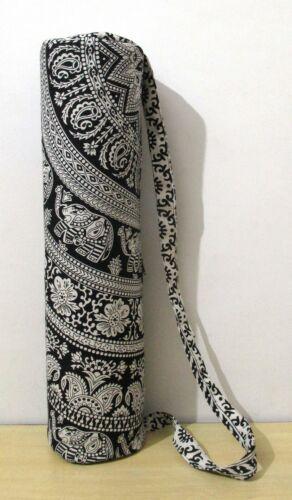 New Indian Handmade Black Large Mandala Yoga Mat Carrier Bag With Shoulder Strap