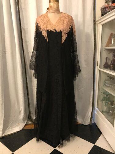 1920's Vintage Black Lace Evening Dress with Jacke