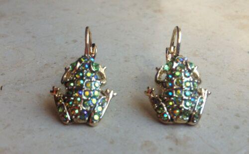 Verschiedene Farben Kirks Folly Ohrringe Kleine Frösche mit Kristallen