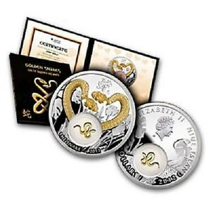 Niue-2012-1-Golden-Snakes-Silver-Coin-Insert-Covered-With-24K-Gold-Plating