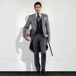 Custom Made Grey Men\'s Wedding Suits Groom Tuxedo Best Men Tailcoats ...