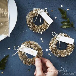 Mini Couronne Lieu Nom Porte Cartes x4 or Dîner de Noël