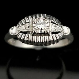 dd0cd3ca06275 Details about Vintage Diamond 14k White Gold Ring Retro Mid Century Estate  Promise Gift