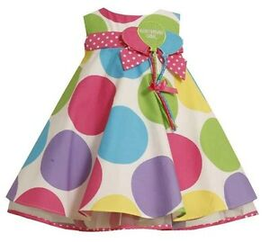 Bonnie jean girls boutique polka dot balloon birthday party dress size