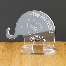 Personalised Baby Birth Elephant for Boy or Girl Engraved Keepsake Ornament Gift