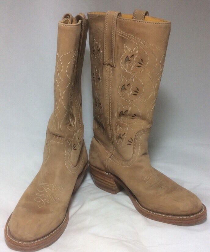 Frye Austin Cutout Boot Saddle Suede 6.5M EUC