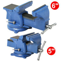 Bench Vise With Anvil Swivel Locking Base Table Top Clamp Heavy Duty Steel