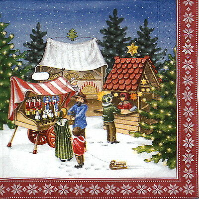 4x Paper Napkins for Decoupage Decopatch Craft Christmas Friends