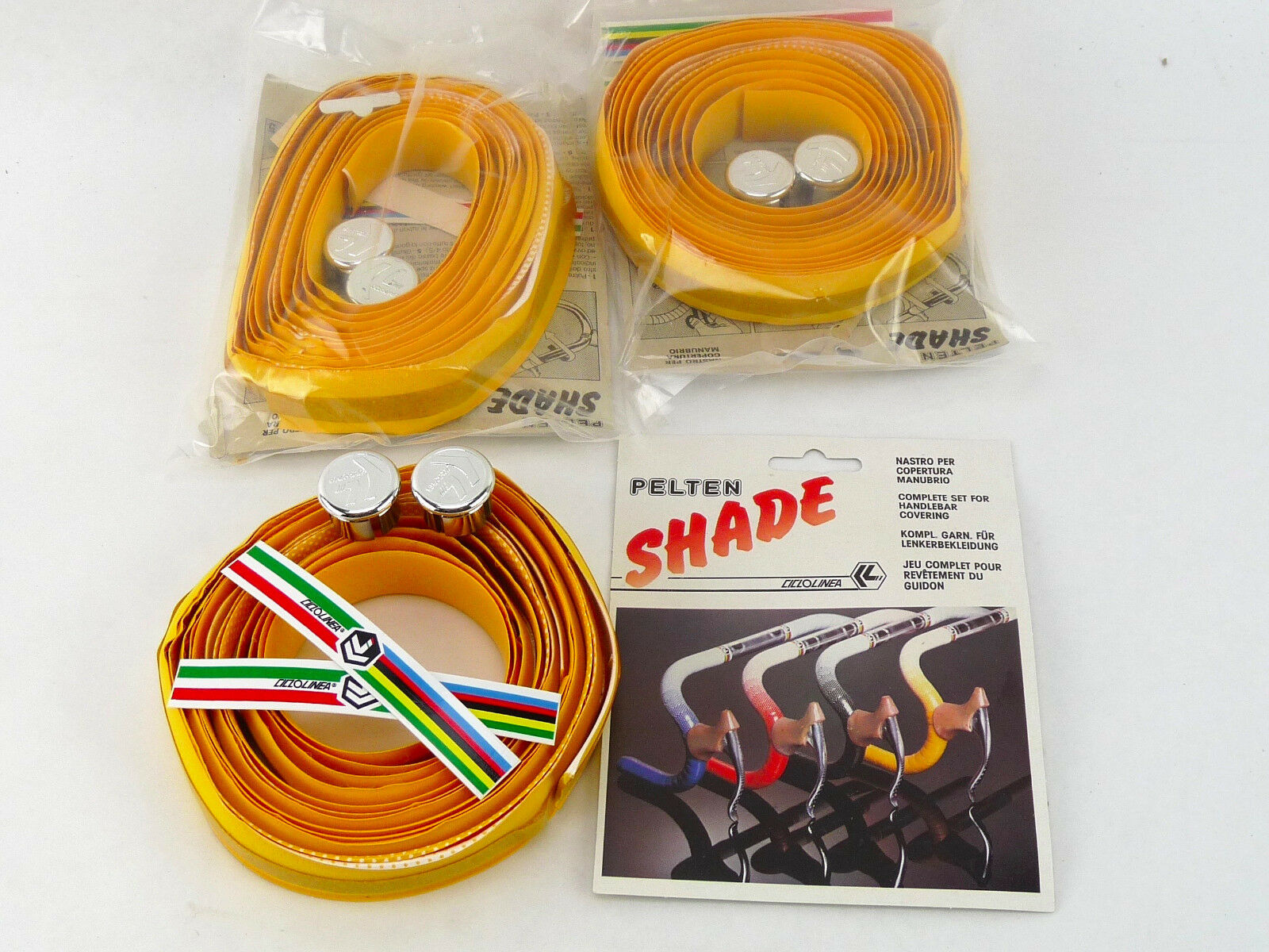 Vintage Handlebar tape Yellow Pelten Shade graduating 1980-90's Bike NOS x 3 LOT