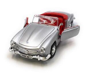Maqueta-de-coche-mercedes-benz-190-sl-Oldtimer-plata-convertible-auto-1-34-39-con-licencia-oficial