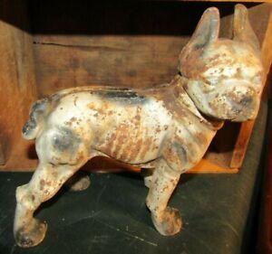 Cast Iron Boston Terrier Dog Right-Facing Vintage Door Stop Coin Bank