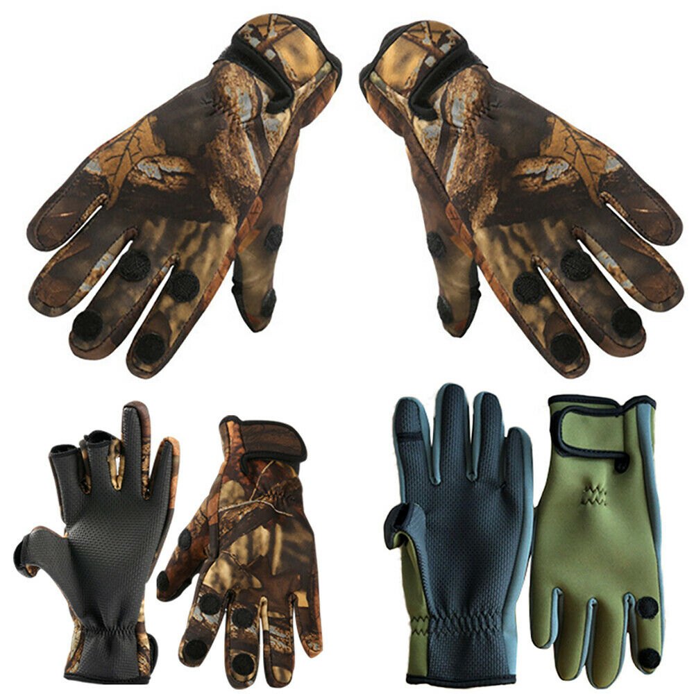 Men Neoprene Camo Gloves Fishing Hunting Shooting Sports Gym Gloves Protect HOT!