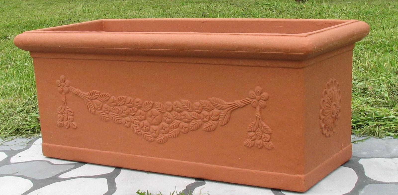 Cassetta Decorata Festonata Vaso Vasi In Resina 100x40 h 40 cm colore terracotta
