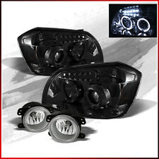 Fits 05-07 Dodge Magnum Smoke Halo LED Projector Headlights +Fog Lights +Bulbs