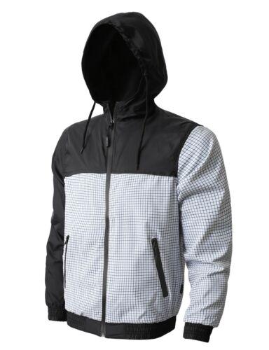 Mens WINDBREAKER Jacket HOODED Lightweight Slim Fit Casual Zip Up Quick Dry