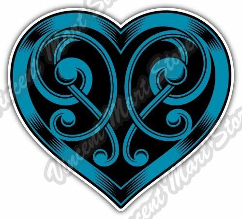 Ornate Heart Shape Blue Celtic Knot Love Car Bumper Vinyl Sticker