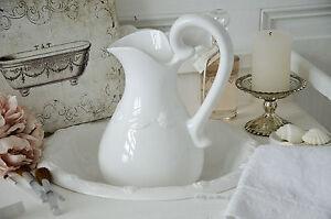 Details zu Waschgarnitur Lavabo 2 tlg. klein Weiß Bad Badezimmer Landhaus  Shabby Chic