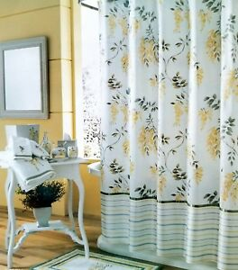 Image Is Loading NEW J Queen Fabric Cotton Shower Curtain Yellow