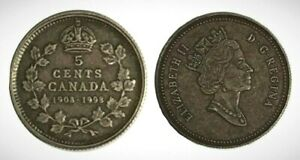 Canada-1908-1998-Proof-Five-Cent-Piece-With-Antique-Finish