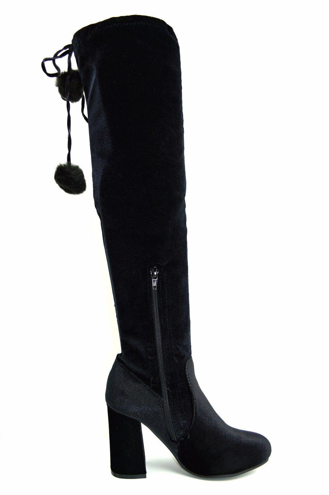 Dettagli su Stivali donna tacco alto elasticizzati velluto ciniglia neri ginocchio invernali