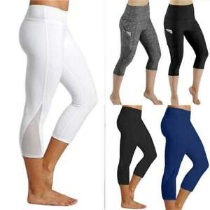 Women-3-4-Length-Yoga-Gym-Leggings-High-Waist-Capri-Fitness-Workout-Pants-Sport