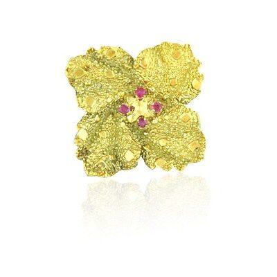 Vintage Tiffany & Co 18k Gold Ruby Flower Brooch Pin