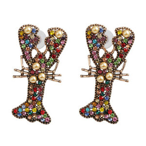 US-Seller-US-Seller-Betsey-Johnson-Mismatch-Multicolor-Crystal-Lobster-Earrings