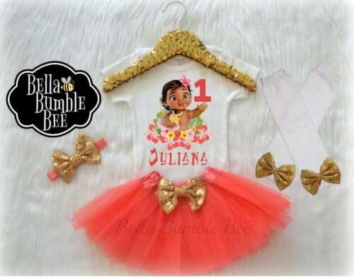 Disney Moana Inspired Coral 431 Baby Girl First Birthday Bodysuit custom name