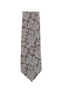 Finamore Napoli Brown Paisley Silk Tie - x - (1337)