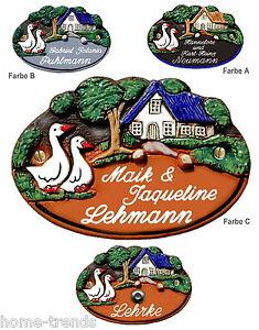 Gänse-keramikschild-türschild-17 X 12 Cm-klingel-schild-incl.gravur-namensschild Hunde