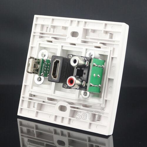 HDMI SeTo 86 Type Red /& White Audio USB Connector Socket Keystone Faceplate