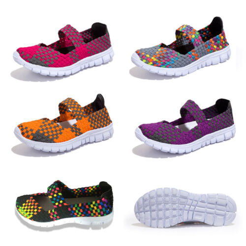 Summer Breathable Casual Sandals Women/'s Weave Slip On Elastic Flat Shoes