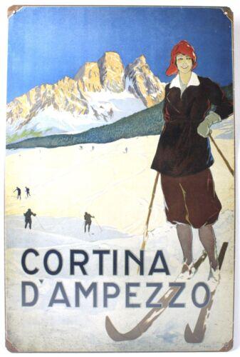 CORTINA D/'AMPEZZO SKI METAL SIGN Italy Alps Snow NEW Vintage Repro USA Steel