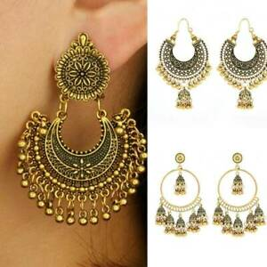 Fashion-Women-Ethnic-Tassel-Dangle-Earrings-Bollywood-Indian-Gold-Jhumka-Jewelry