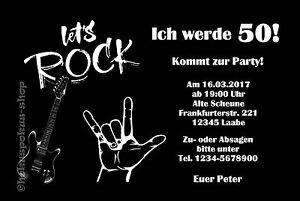 Das Bild Wird Geladen 30 Einladungskarten Rock Musik Geburtstag Einladungen  Party JEDES