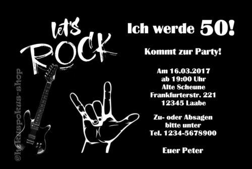 50 Einladungskarten Rock Musik Geburtstag Einladungen Party JEDES ALTER 30 40 60