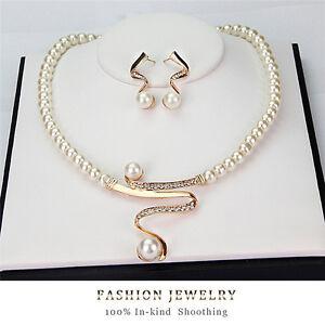 Neue-Frauen-Braut-Hochzeit-Perle-Strass-Halskette-Ohrringe-Schmuck-Set-SH