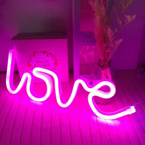 Fabulous Details About Pink Love Night Lights Led Neon Signs Usb Battery Wall For Home Decor Bedroom Home Interior And Landscaping Eliaenasavecom