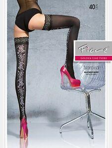 Fiore-Narcisa-halterlose-Chaussettes-Noir-40den-S-L-36-46-de-BAS-NYLON-chaussettes