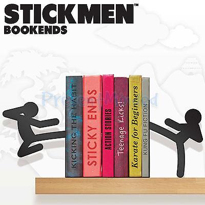 Stickmen Ninja Kung Fu Style Black Metal Bookend Pair