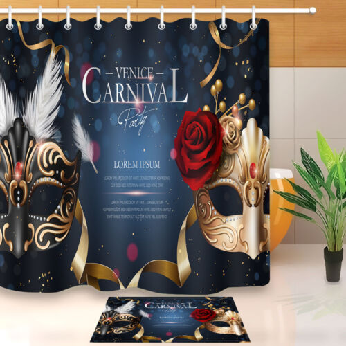 Venice Carnival Mask with Diamonds Waterproof Shower Curtain Set Bathroom Mat