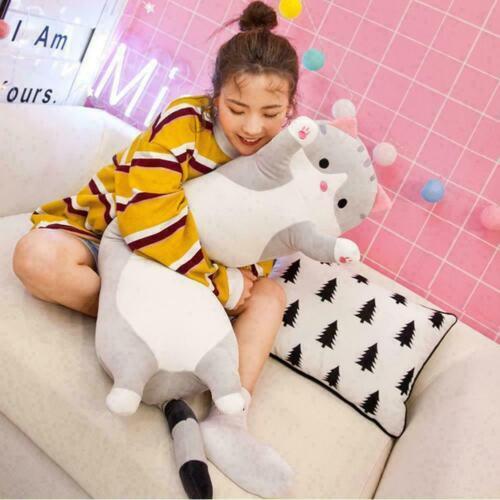 Long Cute Cat Doll Plush Toy Soft Stuffed Kitten Sleeping Home Decor Pillow W6A7