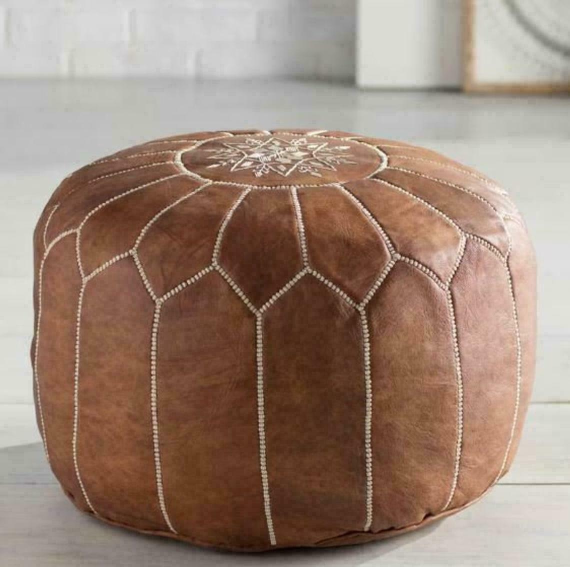 Moroccan Leather Pouf Ottoman Footstool Real Natural Leather Unstuffed Pouffe