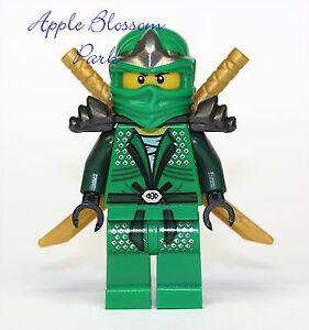 NEW-Lego-Ninjago-GREEN-NINJA-MINIFIG-Lloyd-ZX-Minifigure-w-2-Gold-Swords-9450